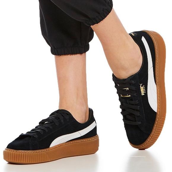 PUMA Basket Suede Platform Women's Sneakers Black | Gastown